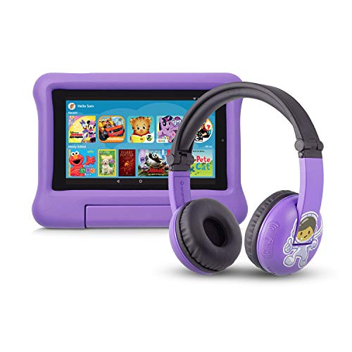 Fire 7 Kids Edition Tablet   7″ Display, 16 GB, Purple Kid-Proof Case + Made for Amazon Bluetooth BuddyPhones, PlayTime in Purple – Ages (3-7)