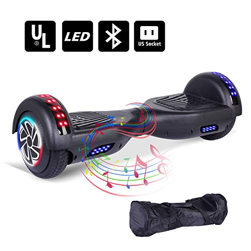 Keepower Hoverboard with Bluetooth Speaker and LED Banner Flashing Lights Two 6.5 Wheels Self-Balancing Electric Scooter Dual 300W Motors Smart Hover Board Adults Kids Gift – UL2272 Certified