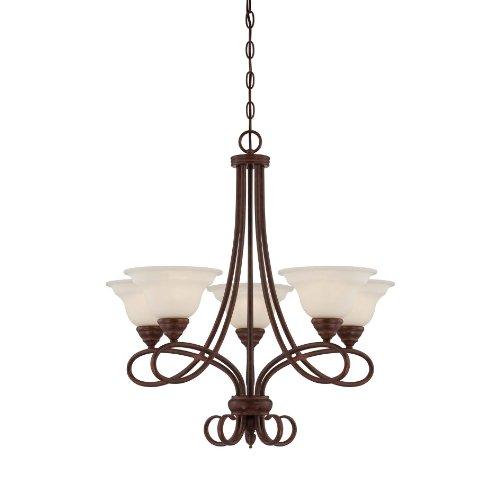 Savoy House 1-120-5-91 Chandelier with Cream Faux Alabaster Shades, Sunset Bronze Finish