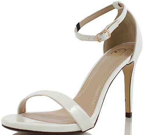 "Delicious Women's Jaiden Faux Leather Wide Strap Single Sole Heels 4"", White, 75 M US"