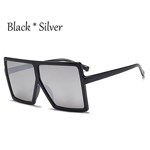 Black TIANLIANG04 C6 Enormes Unas Silver De Protección Solar Sol Gafas Sol Gafas De Plata Mujer Square Grande C6 Bastidor Negro U6qfrU
