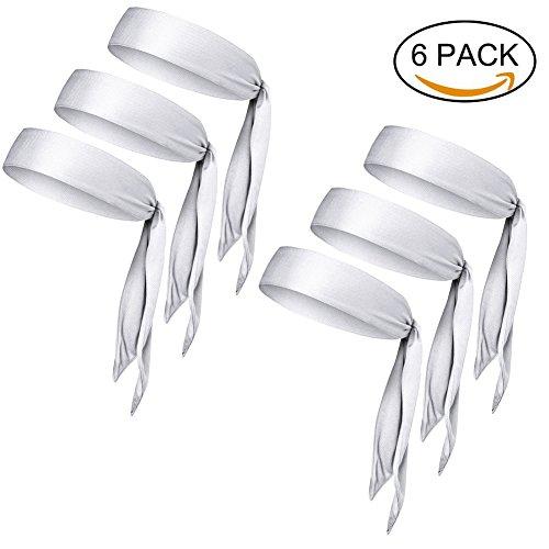 "Fit Tie (Dri-Fit Head Ties Tennis Headbands Sweatbands for Women Men Boys Girls Kids Performance Elastic & Moisture Wicking (6 PCS WHITE R, One Size 40.16""Length/2.37""Width))"
