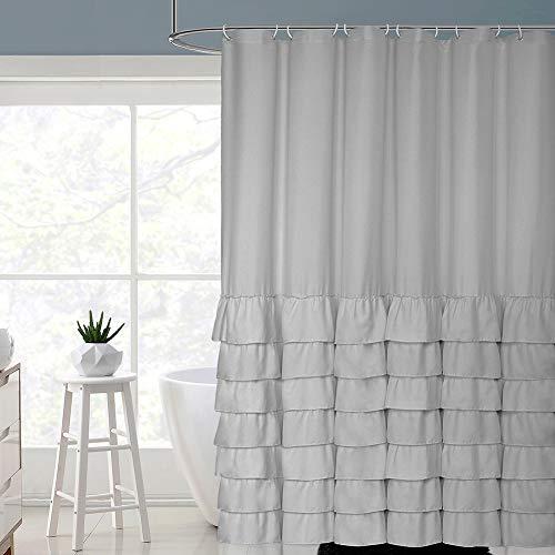 Volens Gray/Grey Ruffle Shower Curtain Farmhouse Rustic Cloth Shower Curtains for Bathroom, Fabric Bath Curtain, 72x72 inch Long (Blue Ruffle Curtains)