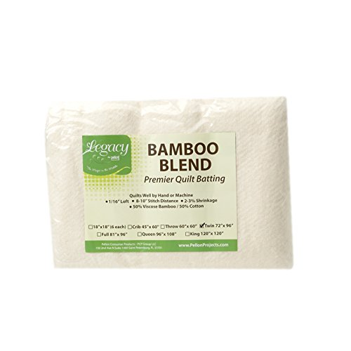 - Pellon Bamboo Rayon Batting Twin 72in X 96in, Cream/White