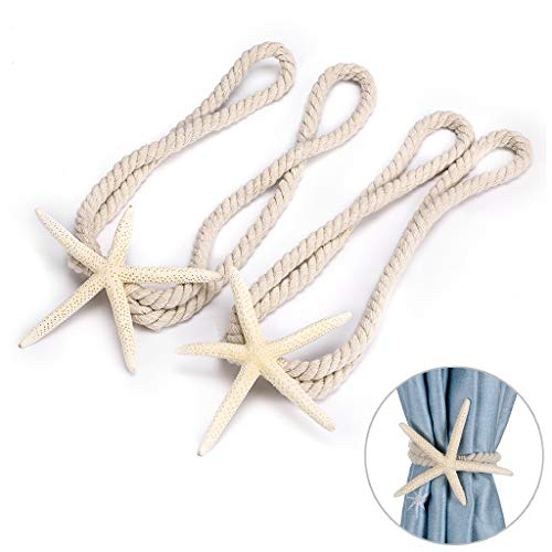 Sumnacon 2 Packs Natural Starfish Curtain Tiebacks Rope Curtain Tie Band with Cotton Rope for Home Office Decoration (Shell Tiebacks Curtain)