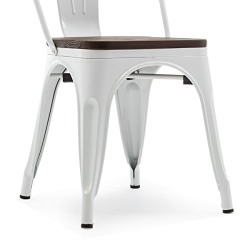 Belleze 014-HG-14085WD-WH Dining Side Chairs Steel High Back, White by Belleze (Image #6)