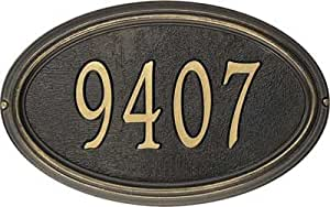 Concord Oval Address Plaque - Estate Lawn Plaque (One Line Version), Bronze and Gold Letters - OG