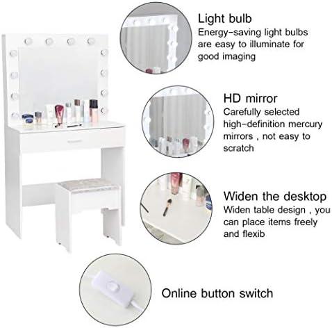 41ZDTN9vefL. AC Vanity Set with Lighted Mirror, Makeup Vanity Dressing Table Dresser Desk with Large Drawer for Bedroom, Walnut Bedroom Furniture(12 Cool LED Bulbs) (White, A)    Product description