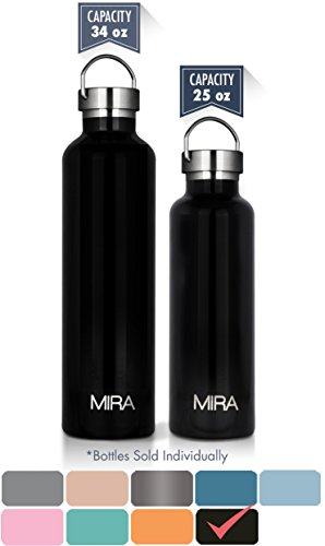MIRA 25 oz Stainless Steel Vacuum Insulated Water Bottle | Thermos Keeps Your Drink Cold for 24 hours & Hot for 12 hours, Doesn't Sweat | Large Sports Flask with 2 Lids | 750 ml Black