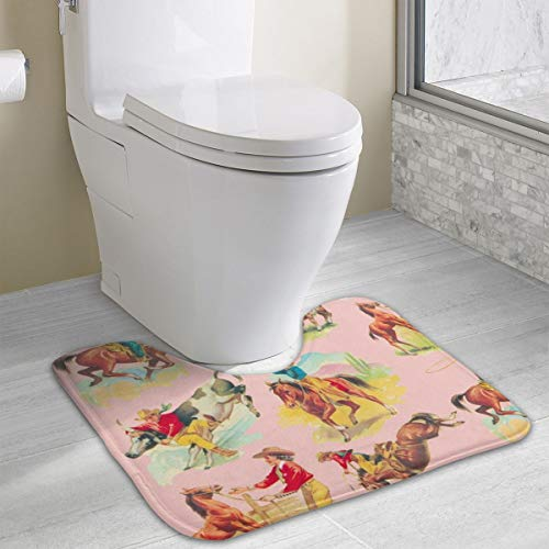 Ride Em Cowgirl Cowboy Pink!_39 Non-Slip Soft Microfibers of Bathroom Rug Machine Absorbent Super Cozy Bathroom Rug Shaggy Microfiber Powder Room Indoor Rugs for Entryway Grey 19.3x15.8 Inch ()