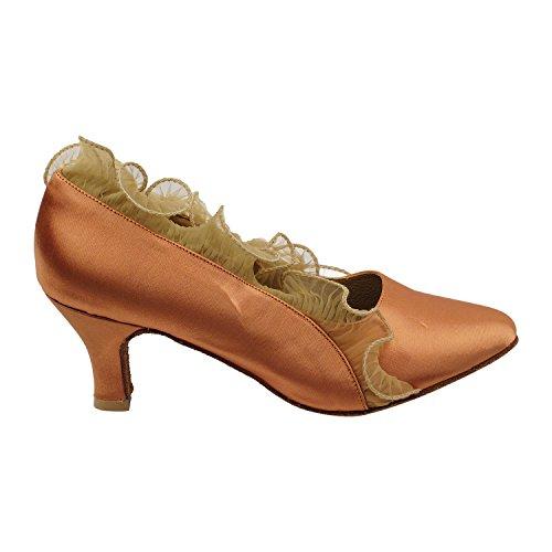 Women Pump Shoes Pigeon 5517 Shoes Wedding Ballroom Evening Party Party Ruffle Tan Medium Shoes Dress Comfort Dance Smooth Gold Standard Tango Collections Satin Heel wPd70w