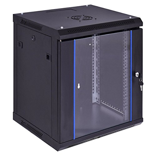 12U Wallmount Data Network Cabinet w/ Locking Glass Door - By Choice Products by By Choice Products