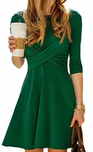 Donne Jaycargogo Un Linea Girocollo Delle Manica Elegante Lunga Verde Dell'annata Vestito rrqCYx