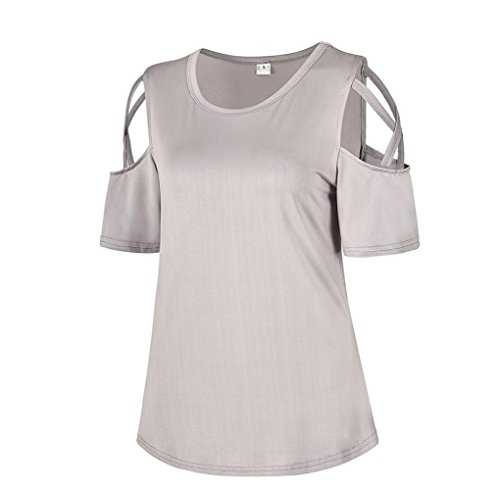 Blouses Femmes T paule Froide Shirt Gris Manches Courtes Hauts tefamore Strappy d't AdqUxAvw