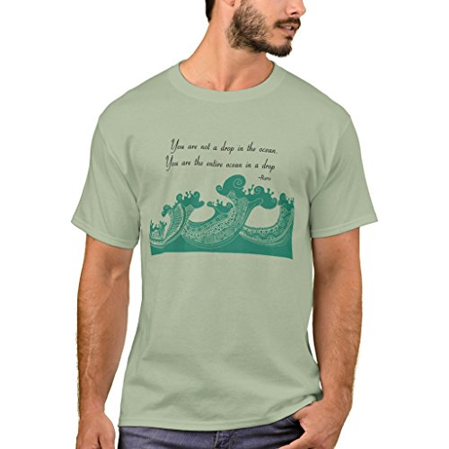 Zazzle Men's Basic T-Shirt, Rumi Ocean Quote T-Shirt, Stone Green ()