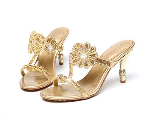 Piel Verano Mujer Medio Sandalias Zapatillas Elegantes Gold Con De Y Diamante Imitación Tacón Diamantes Hrn AwtOpO