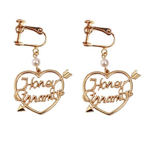Screw Back Clip on Heart Arrow Alphabet Earrings Dangle Gold Plated for ()