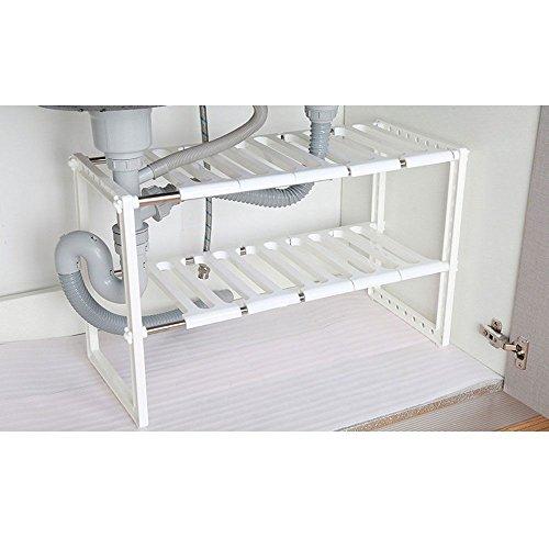 Under Sink 2 Tier Expandable Adjustable Kitchen Cabinet Shelf Storage Organizer (Expandable Corner Console)