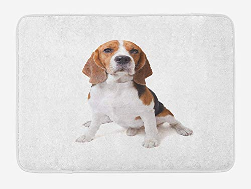 (Beagle Bath Mat, Beagle Dog Posing Loving Puppy Furry Friend Companion Domestic Animal, Plush Bathroom Decor Mat with Non Slip Backing, 23.6 W X 15.7 W Inches, Cinnamon Black White)