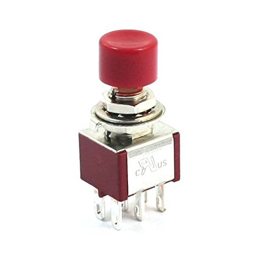 Red DealMux AC250V 2A 120V 5A 6Pin Terminals DPDT Momentary Push Button Switch