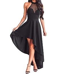 Womens Halterneck Sexy Decolletage Evening Gowns Off Shoulder Sleeveless Hi-Low Hemline Party Club Dress