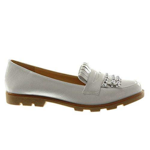Angkorly Women's Fashion Shoes Mocassins - Slip-On - Studded - Fringe - Patent Block Heel 2 cm White af1EV