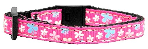 Mirage Pet Products Butterfly Nylon Ribbon Cat Safety Collar, Pink