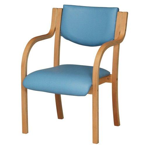 ダイニングチェア 完成品 木製 椅子 ダイニングチェアー スタッキングチェア 肘付 LDCH-1-S (ブルー) B014QQD19K ブルー ブルー