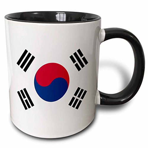 Taiji Coffee Mug (3dRose Flag of South Korea - Korean white red blue taegeuk circle black trigrams - Taiji Yinyang Taegeukgi - Two Tone Black Mug, 11oz (mug_158435_4), 11 oz, Black/White)