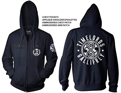 Ripple Junction Doctor Who Adult Timelords Gallifrey Full Zip Fleece Hoodie XL Navy -