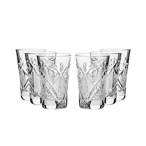 SET of 6 Russian CUT Crystal Shot Glasses 35ml Hand - Glass Crystal Shot Set