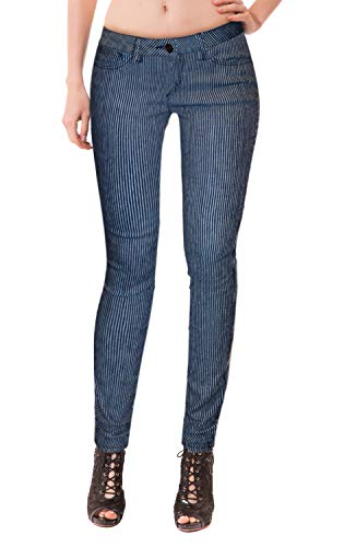 HyBrid & Company Womens Super Comfy Stretch Denim 5 Pocket Jean-P22886SK-BLUE/WHITE-3