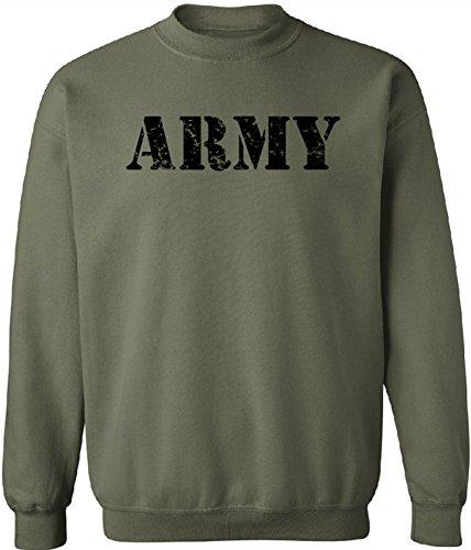 Joe's USA - Vintage ARMY Crewneck Sweatshirts - Army Green - - Pullover Sweatshirt Army
