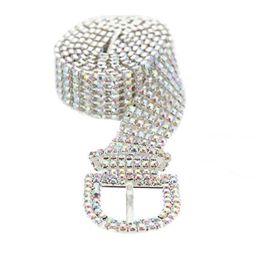 SP Sophia Collection Glitterati 7 Row Chic Women's Fashion Crystal Rhinestone Buckle Chain Belt in Iridescent