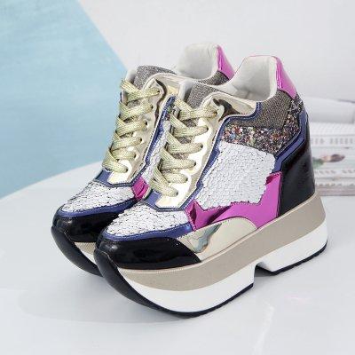 D'épaisseur forme Ngrdx Femme amp;g Gold De Semelle 13 Formateurs Argent Chaussures Plate Haute Femmes Cm Or Baskets Décontractées nnp0x7r