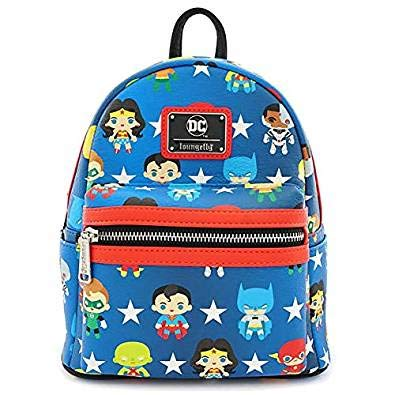 Loungefly x DC Comics Justice League Chibi Character All Over Print Mini Backpack