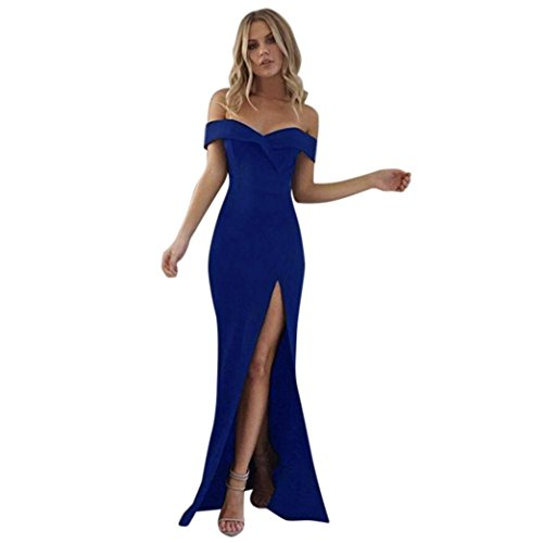 Price comparison product image Snowfoller Women Off Shoulder Strapless Formal Evening Party Maxi Dress Sexy Fashion Long Ball Gown Party Prom Split Side Hem Dress (XL, Blue)