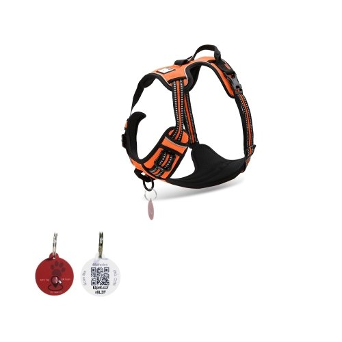 Pet TouchiD – Dog Harness, 3M Reflective, Soft Mesh, No Pull Harness with Handle (XSmall, ORANGE (with Free ID Tag))
