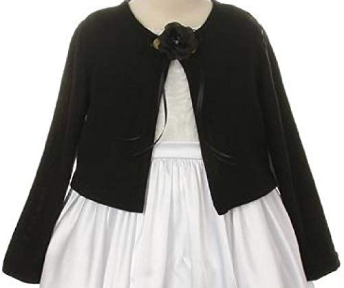 BluNight Collection Big Girls Long Sleeve Flower Girl Cardigan Sweater Bolero (13KD3) Black 12