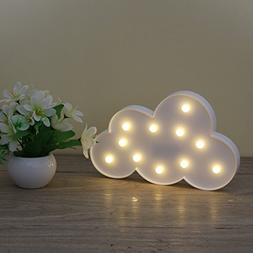 Lighted Cloud Sign - LED Marquee Cloud Baby Light Nursery Lamp - Home Decor Accents - Cloud Night Lights (White Cloud)