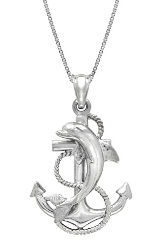 Honolulu Jewelry Company Sterling Silver Dolphin Anchor Necklace Pendant with 18