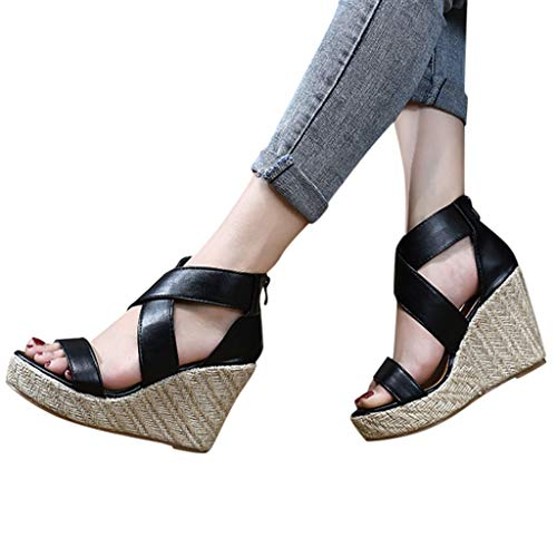 Platform Wedge Sandals for Women,Classic Espadrille Open Toe Criss Cross Roman Ankle Strap Shoes (US:8, Black)