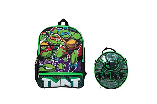 (Teenage Mutant Ninja Turtles Boys' Teenage Muant Ninja Turtles with Shaped Shell Lunch Kit Backpack Black One)