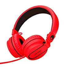 RockPapa Stereo Over Ear Foldable Headphones, Heavy Deep Bass, Adjustable Headsets with Microphone 3.5mm for Adults Childrens Kids / iPad iPod iPhone SmartPhone Computer MP3/4 DVD (Black / Red)