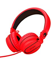 rockpapa 950 Stereo Lightweight Foldable Headphones Adjustable Headband With Microphone 3.5mm For Cellphones Smartphones iPhone Tablets Laptop Computer Mp3/4 DVD Black Red