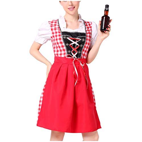 Togethor Women's German Dirndl Dress Beer Festival Dress Cosplay Costumes Traditional Bavarian Oktoberfest Costumes Red -