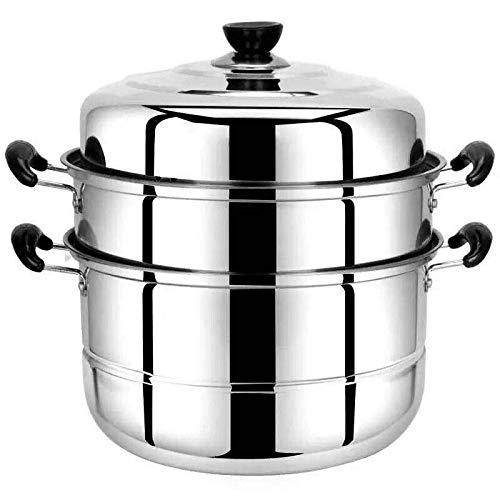 "VONOTO Stainless steel Thicken Three floors 3 Tier 11"" Steamer Cookware Pot Sauce pot Multi-layer Boiler (Three Floors 11"")"