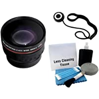 High Definition 37mm 0.43x Professional Wide Angle HD Converter Lens With Macro Includes Pouch For Lens + Lens Cap Keeper + 5 Piece Camera Cleaning Kit For JVC GZ-HD500, GZ-HD620, GZ-HM300, GZ-HM320, GZ-HM340, GZ-HM550 High Definition HDD Camcorder