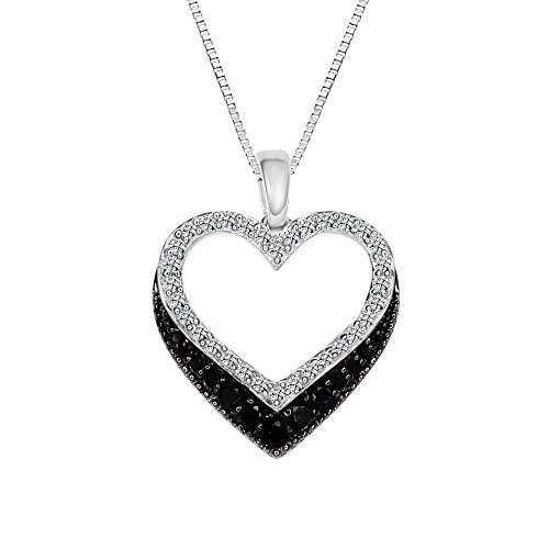 - Sterling Silver 925 Heart Shaped Black Onyx and Lab-Created White Sapphire Pendant Necklace, 18