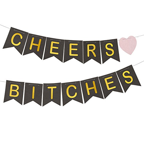 Bachelorette Party Banner – Bridal Shower Decorations, Cheers B*tches Flag Bunting Banner, Engagement Party Supplies for Bride-to-Be, Black and Gold, 10.6 Feet